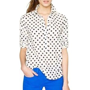 J. Crew Black White Polka Dot Popover Shirt Small